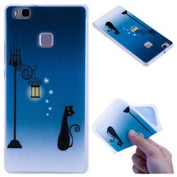 Street Light Cat 3D Relief Matte Soft TPU Back Cover for Huawei P9 Lite G9 Lite