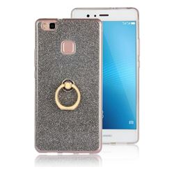 Luxury Soft TPU Glitter Back Ring Cover with 360 Rotate Finger Holder Buckle for Huawei P9 Lite G9 Lite - Black