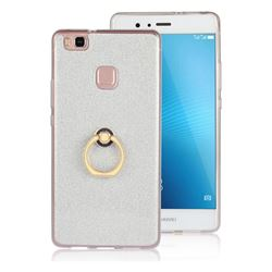 Luxury Soft TPU Glitter Back Ring Cover with 360 Rotate Finger Holder Buckle for Huawei P9 Lite G9 Lite - White