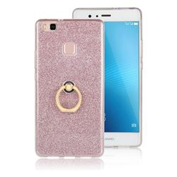 Luxury Soft TPU Glitter Back Ring Cover with 360 Rotate Finger Holder Buckle for Huawei P9 Lite G9 Lite - Pink
