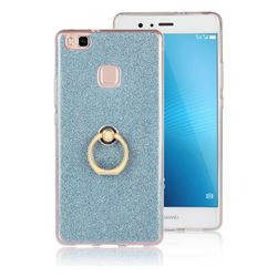 Luxury Soft TPU Glitter Back Ring Cover with 360 Rotate Finger Holder Buckle for Huawei P9 Lite G9 Lite - Blue