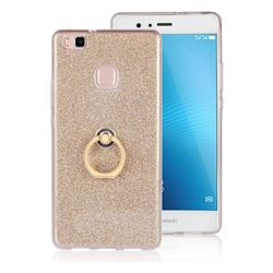 Luxury Soft TPU Glitter Back Ring Cover with 360 Rotate Finger Holder Buckle for Huawei P9 Lite G9 Lite - Golden