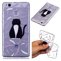 Feather Black Cat Super Clear Soft TPU Back Cover for Huawei P9 Lite G9 Lite