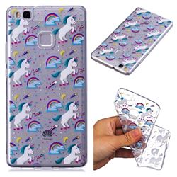 Rainbow Running Unicorn Super Clear Soft TPU Back Cover for Huawei P9 Lite G9 Lite