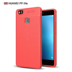 Luxury Auto Focus Litchi Texture Silicone TPU Back Cover for Huawei P9 Lite G9 Lite - Red