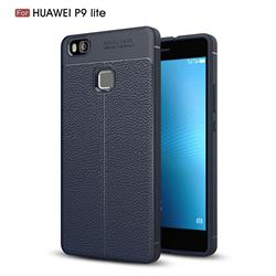 Luxury Auto Focus Litchi Texture Silicone TPU Back Cover for Huawei P9 Lite G9 Lite - Dark Blue
