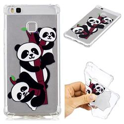 Three Pandas Anti-fall Clear Varnish Soft TPU Back Cover for Huawei P9 Lite G9 Lite