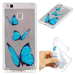 Blue butterfly Anti-fall Clear Varnish Soft TPU Back Cover for Huawei P9 Lite G9 Lite