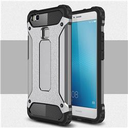 King Kong Armor Premium Shockproof Dual Layer Rugged Hard Cover for Huawei P9 Lite G9 Lite - Silver Grey