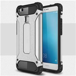 King Kong Armor Premium Shockproof Dual Layer Rugged Hard Cover for Huawei P9 Lite G9 Lite - Technology Silver
