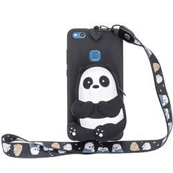 Cute Panda Neck Lanyard Zipper Wallet Silicone Case for Huawei P9 Lite G9 Lite