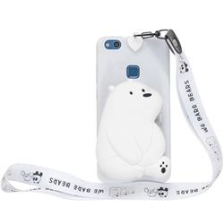 White Polar Bear Neck Lanyard Zipper Wallet Silicone Case for Huawei P9 Lite G9 Lite