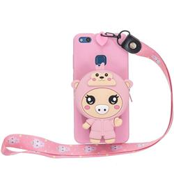 Pink Pig Neck Lanyard Zipper Wallet Silicone Case for Huawei P9 Lite G9 Lite