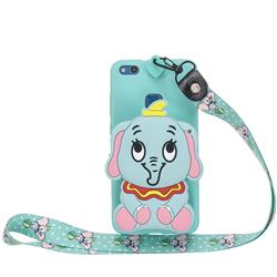 Blue Elephant Neck Lanyard Zipper Wallet Silicone Case for Huawei P9 Lite G9 Lite
