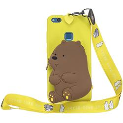 Yellow Bear Neck Lanyard Zipper Wallet Silicone Case for Huawei P9 Lite G9 Lite