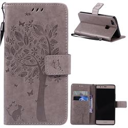 Embossing Butterfly Tree Leather Wallet Case for Huawei P9 Lite P9lite - Grey