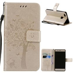 Embossing Butterfly Tree Leather Wallet Case for Huawei P9 Lite P9lite - Champagne