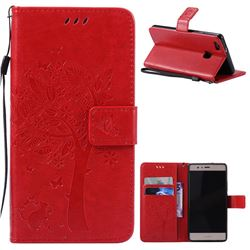Embossing Butterfly Tree Leather Wallet Case for Huawei P9 Lite P9lite - Red