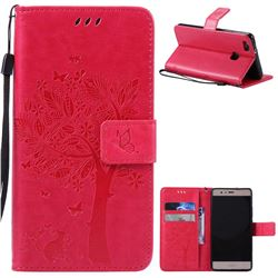 Embossing Butterfly Tree Leather Wallet Case for Huawei P9 Lite P9lite - Rose