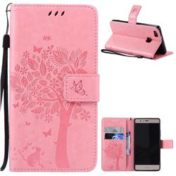 Embossing Butterfly Tree Leather Wallet Case for Huawei P9 Lite P9lite - Pink