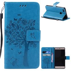 Embossing Butterfly Tree Leather Wallet Case for Huawei P9 Lite P9lite - Blue