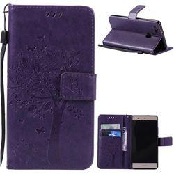 Embossing Butterfly Tree Leather Wallet Case for Huawei P9 Lite P9lite - Purple
