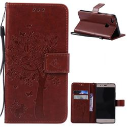 Embossing Butterfly Tree Leather Wallet Case for Huawei P9 Lite P9lite - Brown