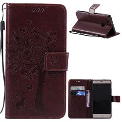 Embossing Butterfly Tree Leather Wallet Case for Huawei P9 Lite P9lite - Coffee
