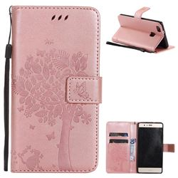 Embossing Butterfly Tree Leather Wallet Case for Huawei P9 Lite G9 Lite - Rose Pink