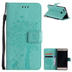 Embossing Butterfly Tree Leather Wallet Case for Huawei P9 Lite G9 Lite - Cyan