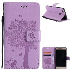 Embossing Butterfly Tree Leather Wallet Case for Huawei P9 Lite G9 Lite - Violet
