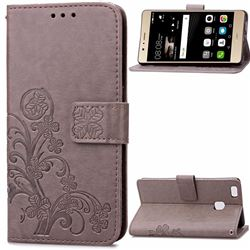 Embossing Imprint Four-Leaf Clover Leather Wallet Case for Huawei P9 Lite P9lite - Gray