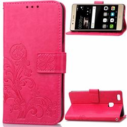 Embossing Imprint Four-Leaf Clover Leather Wallet Case for Huawei P9 Lite P9lite - Rose