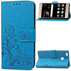Embossing Imprint Four-Leaf Clover Leather Wallet Case for Huawei P9 Lite P9lite - Blue