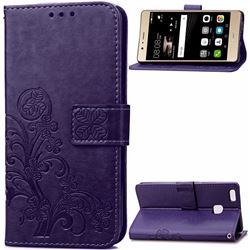 Embossing Imprint Four-Leaf Clover Leather Wallet Case for Huawei P9 Lite P9lite - Purple