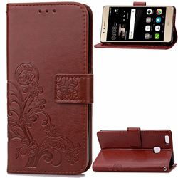 Embossing Imprint Four-Leaf Clover Leather Wallet Case for Huawei P9 Lite P9lite - Brown