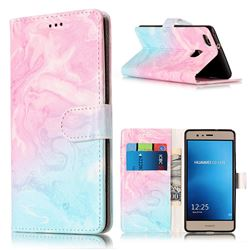 Pink Green Marble PU Leather Wallet Case for Huawei P9 Lite P9lite