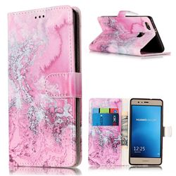 Pink Seawater PU Leather Wallet Case for Huawei P9 Lite P9lite
