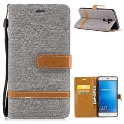 Jeans Cowboy Denim Leather Wallet Case for Huawei P9 Lite G9 Lite - Gray