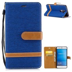 Jeans Cowboy Denim Leather Wallet Case for Huawei P9 Lite G9 Lite - Sapphire