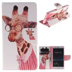 Pink Giraffe PU Leather Wallet Case for Huawei P9 Lite G9 Lite