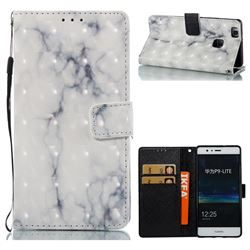 White Gray Marble 3D Painted Leather Wallet Case for Huawei P9 Lite G9 Lite