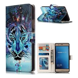Ice Wolf 3D Relief Oil PU Leather Wallet Case for Huawei P9 Lite G9 Lite