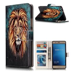 Ice Lion 3D Relief Oil PU Leather Wallet Case for Huawei P9 Lite G9 Lite
