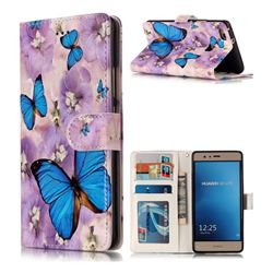 Purple Flowers Butterfly 3D Relief Oil PU Leather Wallet Case for Huawei P9 Lite G9 Lite