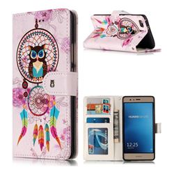 Wind Chimes Owl 3D Relief Oil PU Leather Wallet Case for Huawei P9 Lite G9 Lite