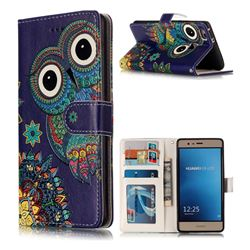 Folk Owl 3D Relief Oil PU Leather Wallet Case for Huawei P9 Lite G9 Lite