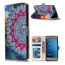 Mandala Flower 3D Relief Oil PU Leather Wallet Case for Huawei P9 Lite G9 Lite
