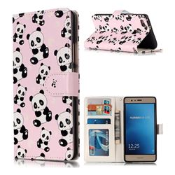 Cute Panda 3D Relief Oil PU Leather Wallet Case for Huawei P9 Lite G9 Lite