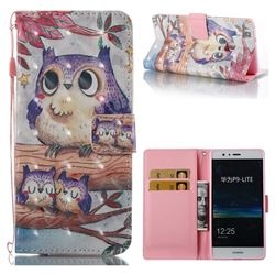 Purple Owl 3D Painted Leather Wallet Case for Huawei P9 Lite G9 Lite